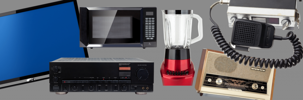 variety of home electronic items