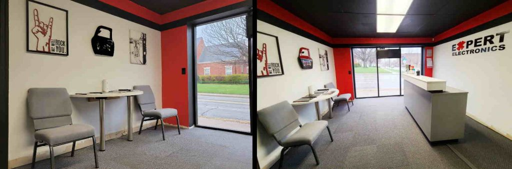 two images of reception area for Expert Electronics in Tulsa